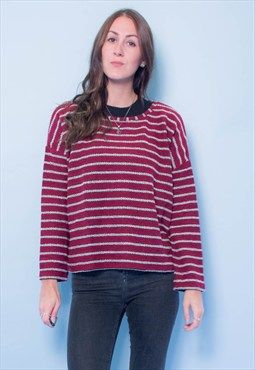 New textured red stripe boxy sweater | Jumpers for women