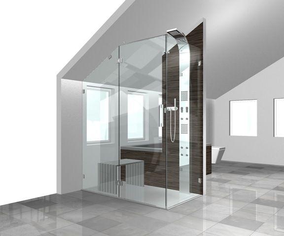 Badkamer douchecabine met schuine wand badkamer bathroom pinterest - Tub onder dak ...