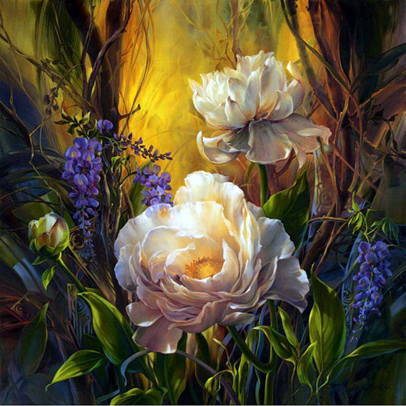 Художественные открытки цветы