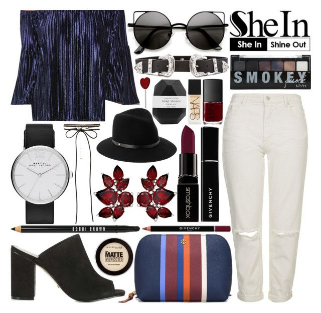 """#220 Navy Off The Shoulder Top-SheIn"" by mariana15c ❤ liked on Polyvore featuring Topshop, Tory Burch, Marc by Marc Jacobs, New Look, Bobbi Brown Cosmetics, Givenchy, B-Low the Belt, Maybelline, NARS Cosmetics and Smashbox"