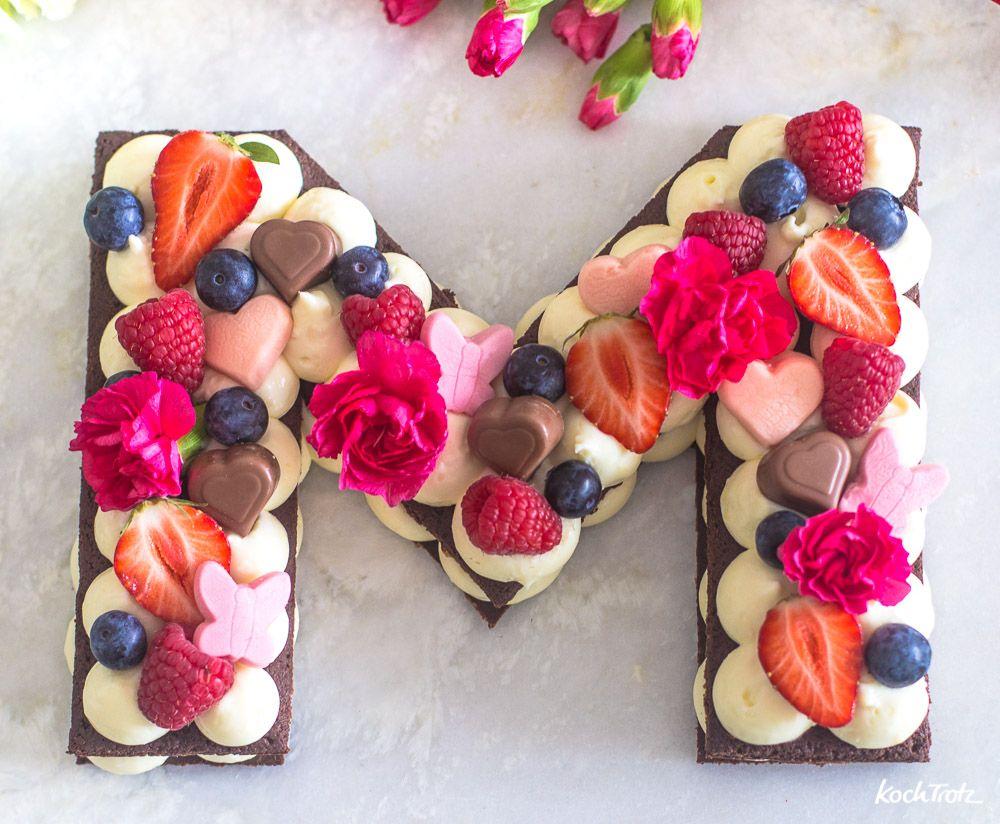 Muttertagstorte | einfacher Letter Cake ohne Backen | mit vielen Varianten - KochTrotz | kreative Rezepte