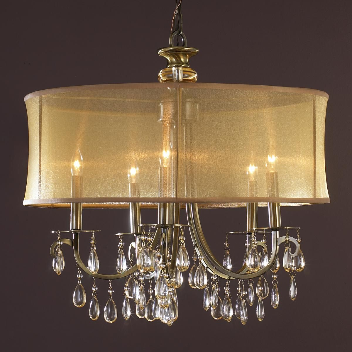 Modern Glam Shaded Crystal Chandelier 5 Light Crystal