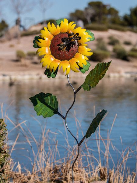 Sunflower Garden Stake! A Beautiful Accent To Any Landscape!