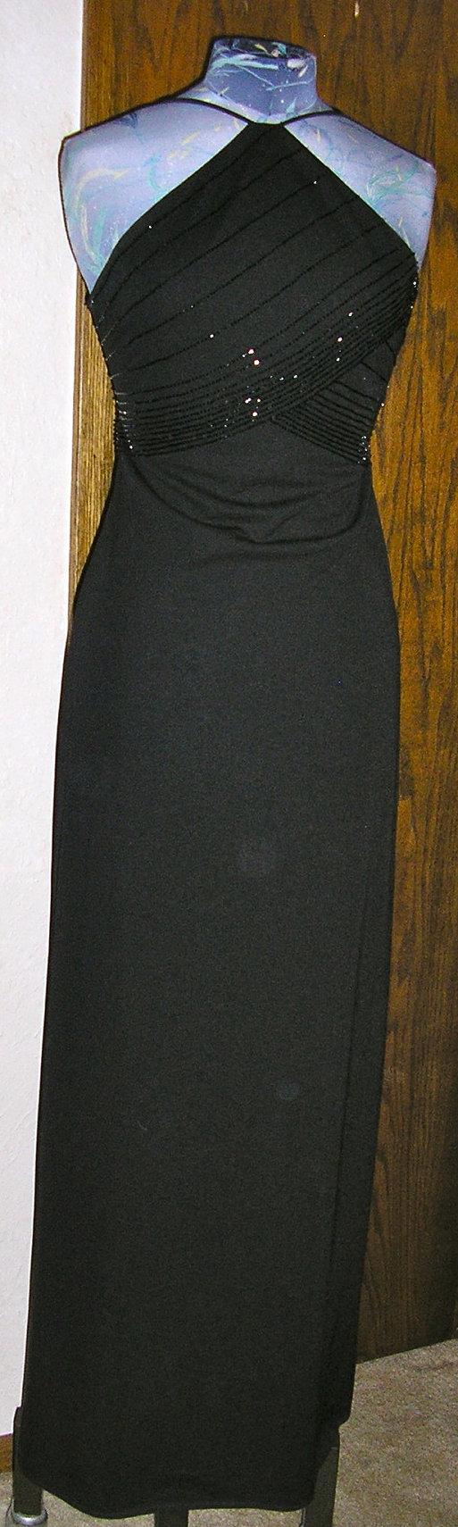 80s De Laru Sheila Yen black beaded formal by ChloeandNatalieVtg, $39.00