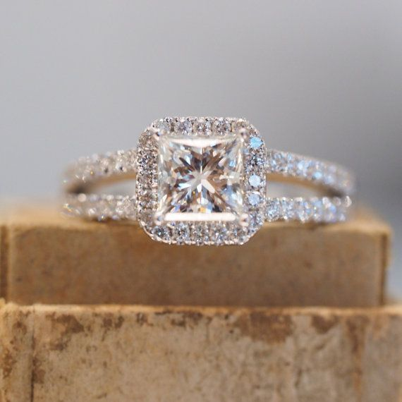 Halo Princess Cut Engagement Ring with Split Shank Band in White