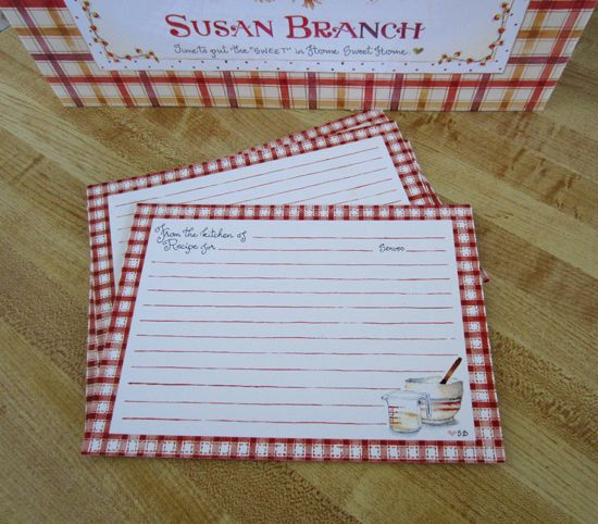 Susan Branch 5x7 Recipe Cards Recipe Cards Template Recipe Cards Printable Free Recipe Cards 5x7