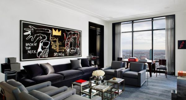 Stylish Wall Art Decorating Idea For Bachelor Pad Living Room