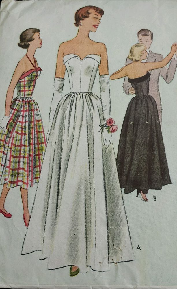 Vintage 1950 s Sewing Pattern McCall 8235 Strapless Ball