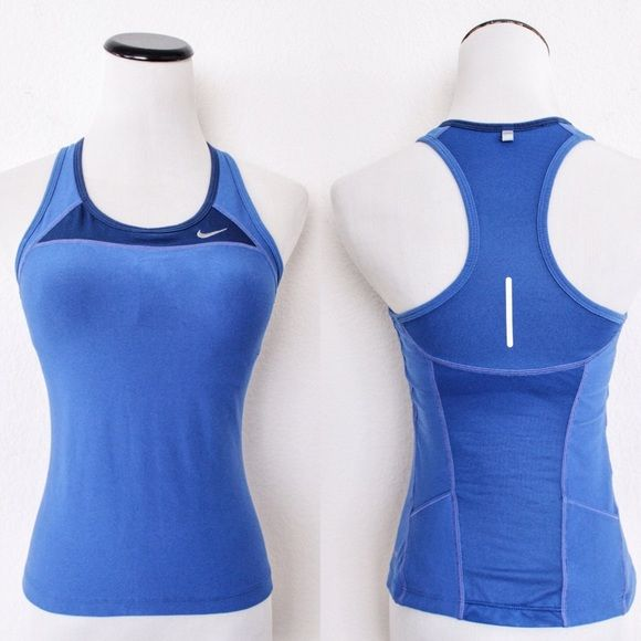 """Blue Mesh Panel Workout Tank Top Nike 'Dri-Fit' ⑊ Size XS  ⌁ Measurements: 13.5"""" bust width 19"""" length  ⌁ Material: 92% polyester 8% spandex  ⌁ Condition: Used <3X. No visible wear!  ⌁ Note: Has an unpadded shelf bra and 2 hidden back pockets. Color is closest to the top last pic.  Comment below if you have other questions. Please make all offers using the """"offer"""" button. No trades or PayPal. No holds (first come, first serve). Comes from a smoke-free/pet-free home. Not responsible for…"""
