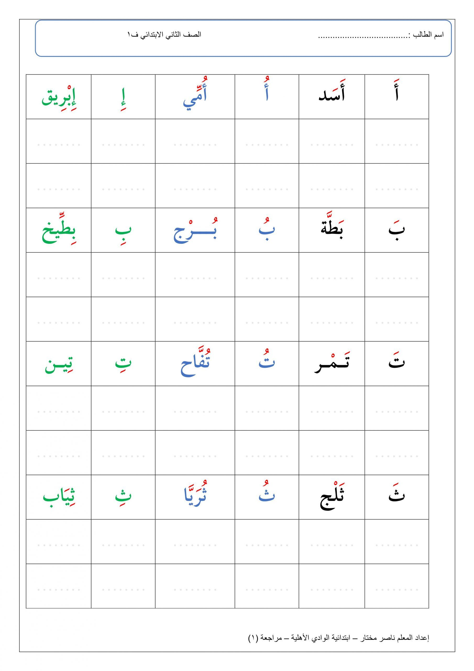 اوراق عمل مراجعة الحروف الهجائية للصف الاول مادة اللغة العربية Arabic Alphabet Letters Arabic Alphabet For Kids Lettering Alphabet