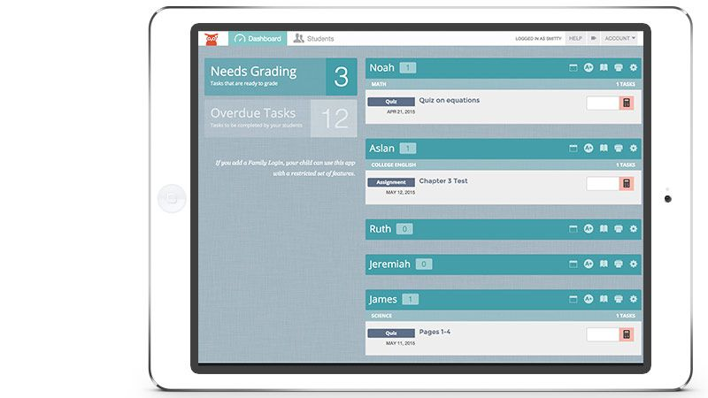 The Homeschool Manager Dashboard Helps You Grade Tasks And See