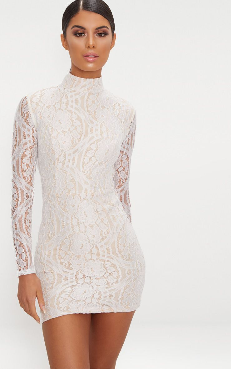 White High Neck Long Sleeve Lace Bodycon Dress Lace Bodycon Dress Long Sleeve Long Sleeve Bodycon Dress White Long Sleeve Dress Bodycon [ 1180 x 740 Pixel ]