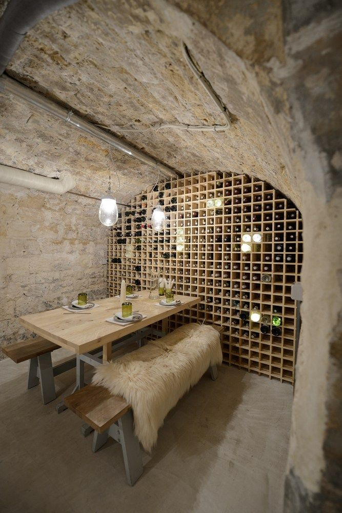 salle manger cave am nag e mur de bouteilles restaurant cantine home decor pinterest. Black Bedroom Furniture Sets. Home Design Ideas