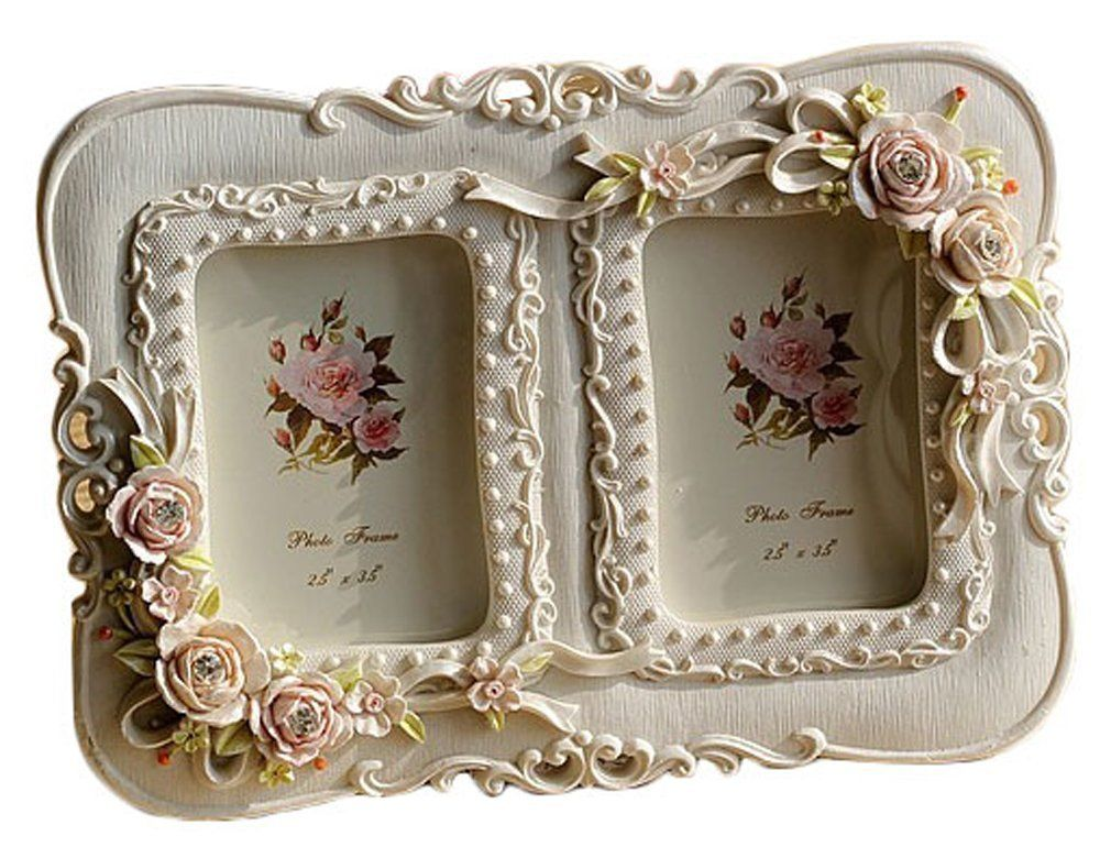 Amazon Com Gift Garden Double Picture Frame Elegant Polyresin White Frame Craft For Table Top Or Wedd Picture Frame Ornaments Picture Frames Double Picture