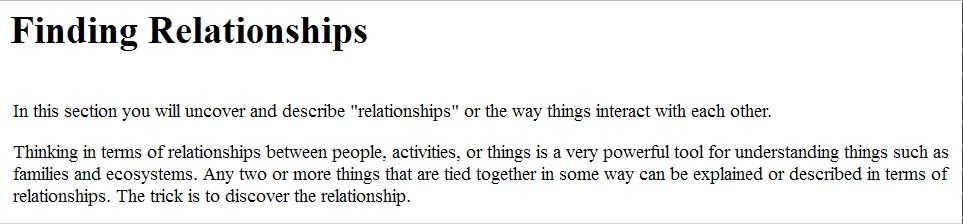 finding relationships questions