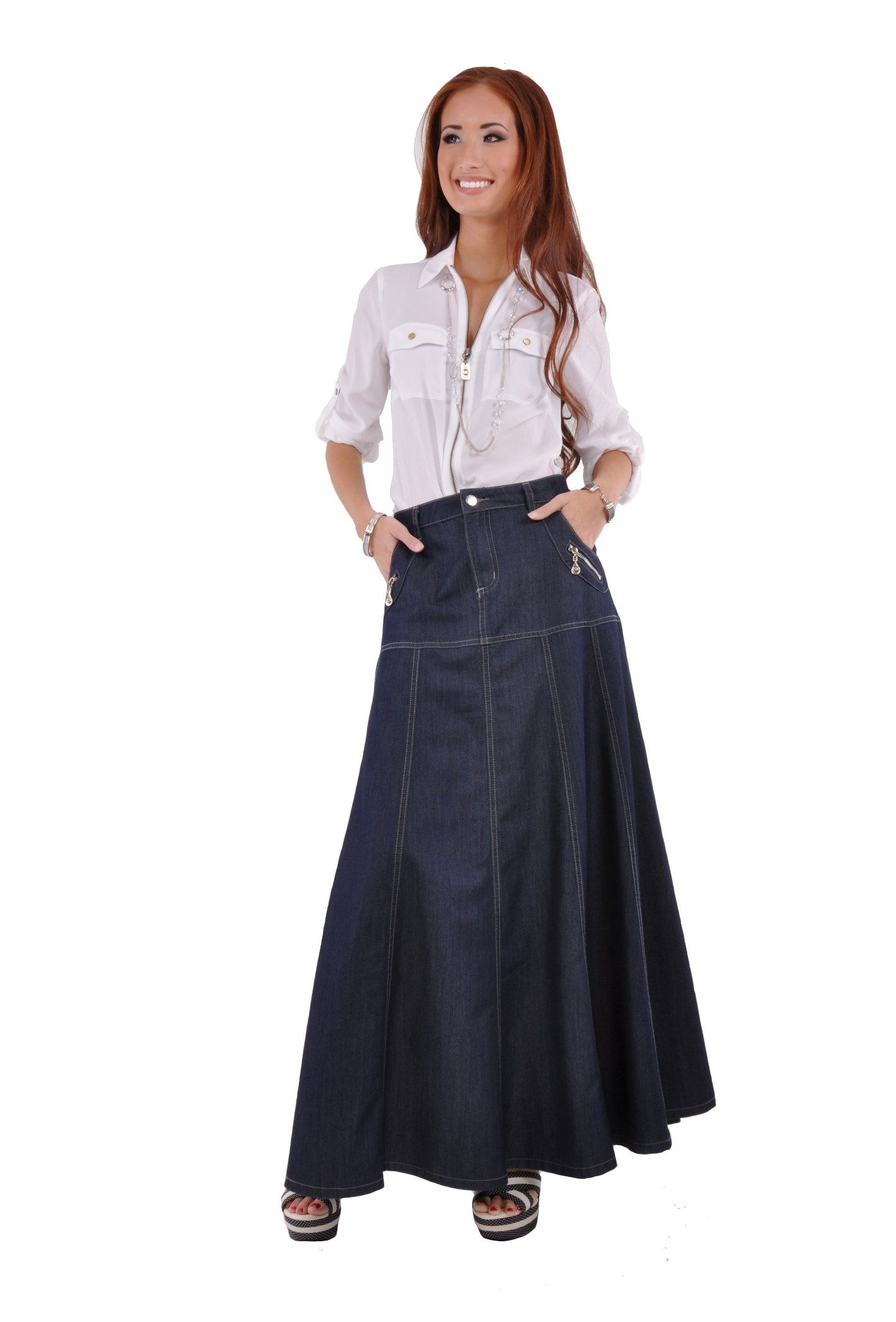 Navy Classy Long Jean Skirt | Denim Skirts | Pinterest | Skirts Jean skirts and Classy