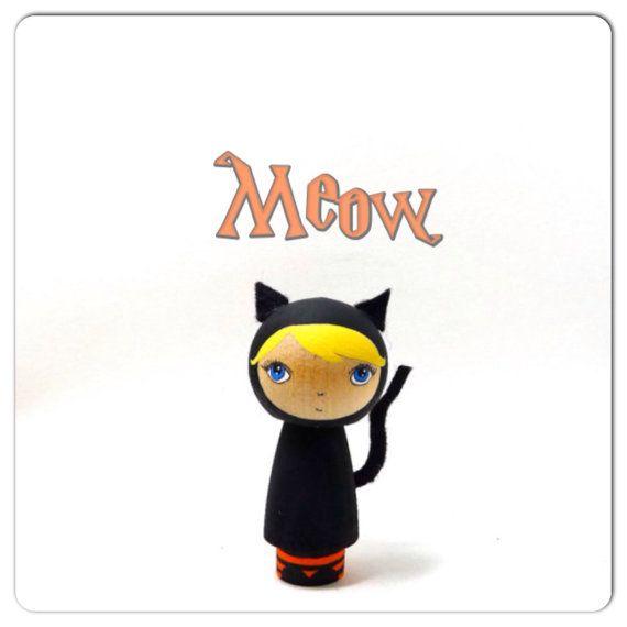 Wooden Kokeshi Halloween Girl in Black Cat Costume by abbyjac