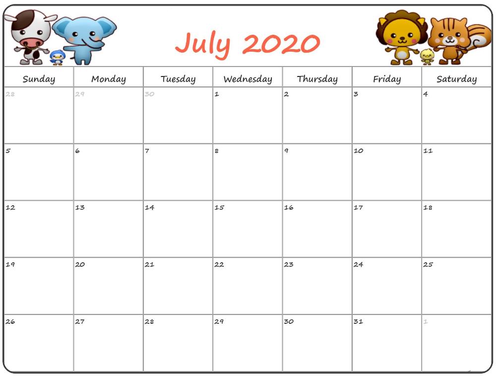 Cute July 2020 Printable Calendar With Holidays Printable Calendar Template Kids Calendar Calendar Template Free Printable Calendar Templates