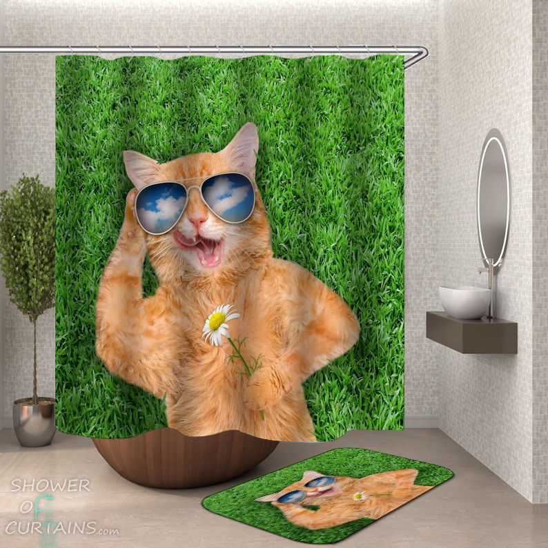 Chilling Out Cat Shower Curtain - HXTC0912