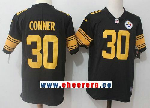 pretty nice b3372 10b2c Men's Pittsburgh Steelers #30 James Conner Black 2016 Color ...