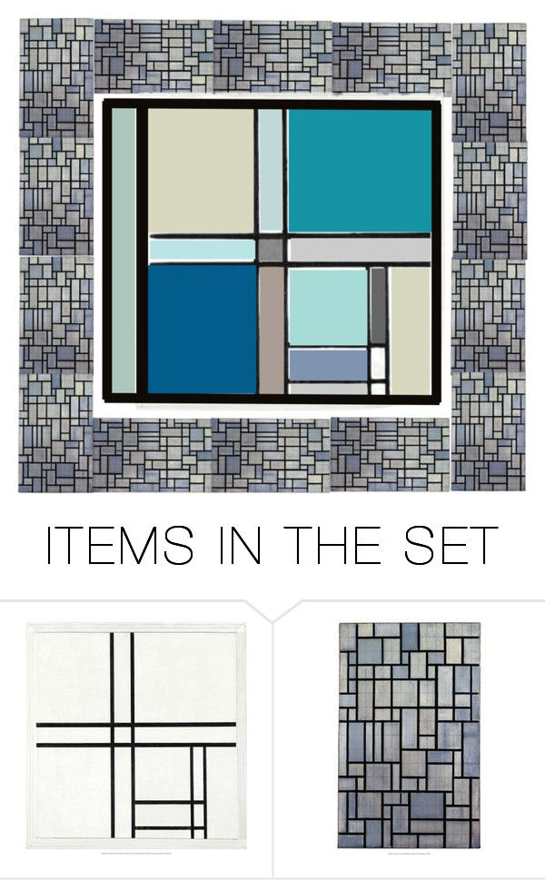 """Mondrian Frame"" by sjk921 ❤ liked on Polyvore featuring art"