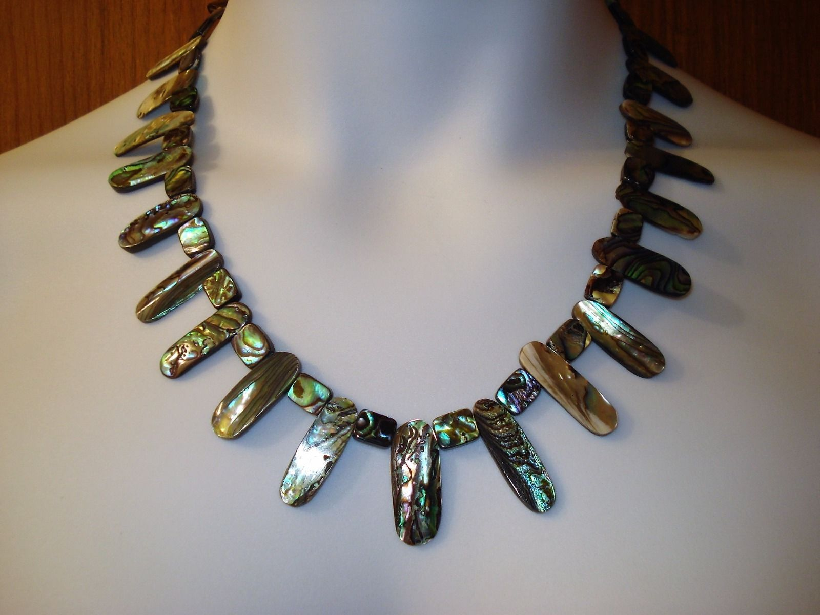 "20 1/2"" Abalone Necklace, 7 1/2"" Bracelet & 1 3/8"" Drop Earrings, all with .925"
