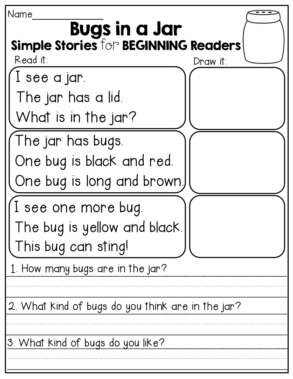 Kindergarten Preschool Reading Writing Worksheets Draw It