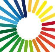 Logo voor Breinvoorkeuren. Omdat iedereen anders denkt en met informatie omgaat; een logo met alle kleuren, van klein naar groot.