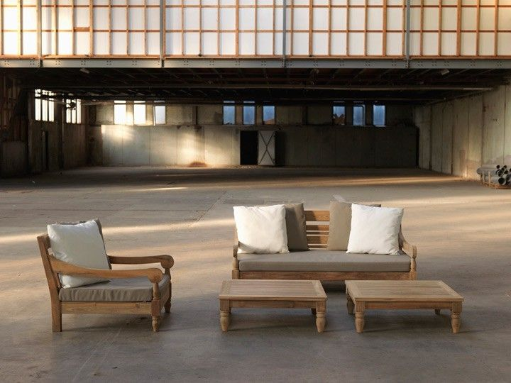 Lounge sofa outdoor teak  KAWAN Lounge Garten Outdoor Sofa Teak Recycled mit Kissen ...