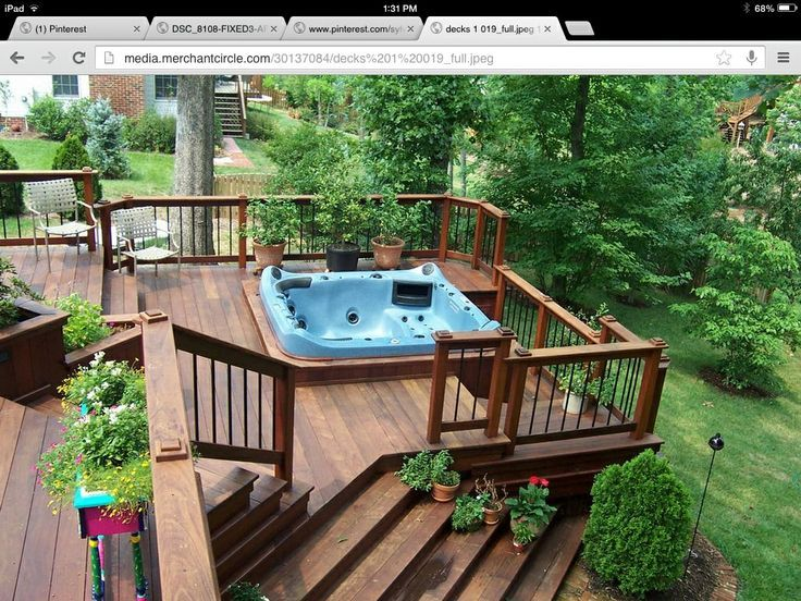deck recessed hot tub | Hot tub recessed into deck | Hot ...