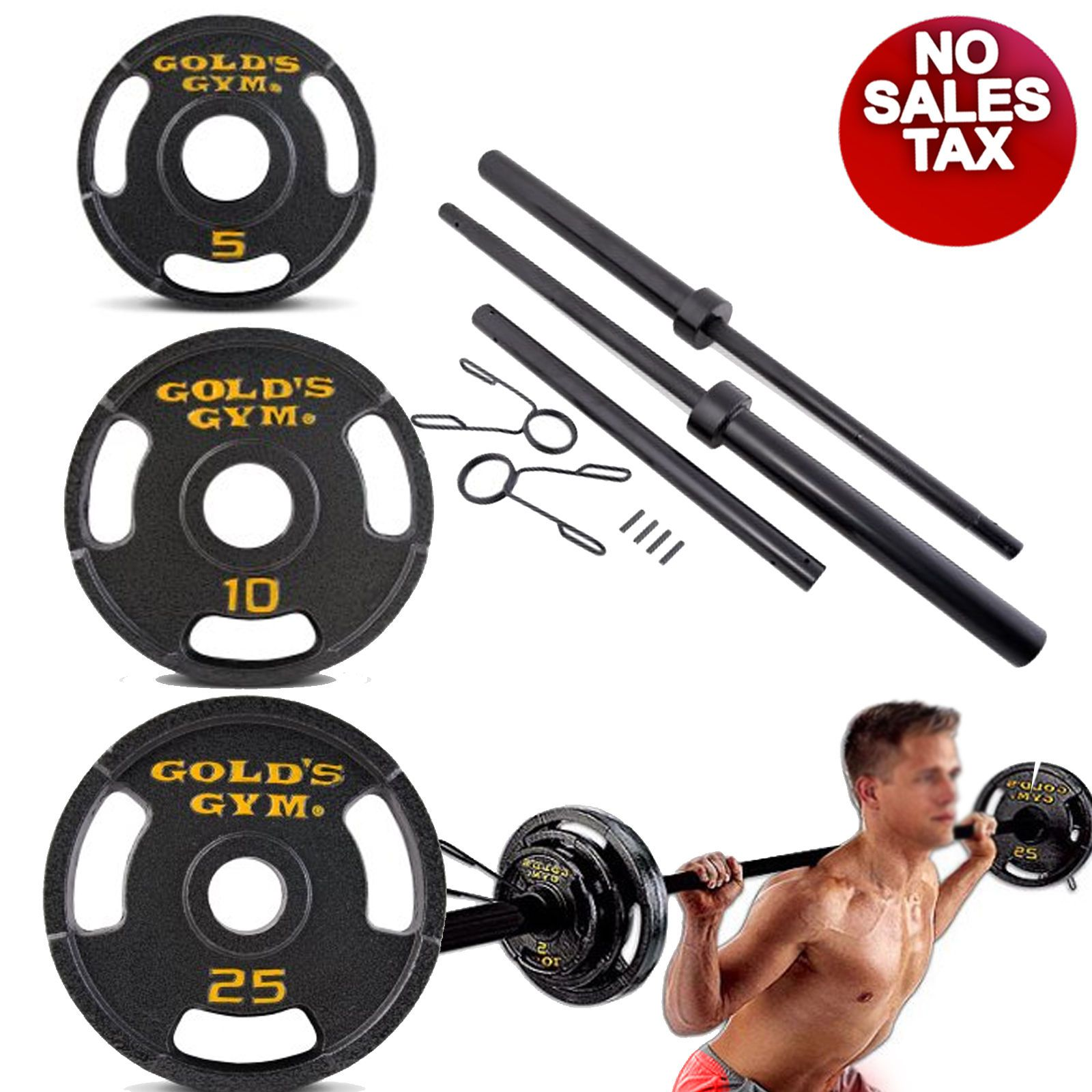 Golds Gym Olympic Weights 110 Lbs Bar Cast Iron Plates Gym Barbell Weight Set Work Out Wear Olympic Weight Set Barbell Weights Olympic Weights