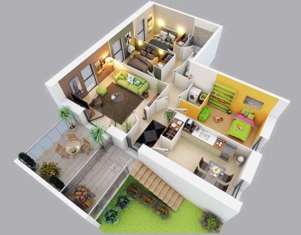 3d Small House Plans Under 1000 Sq Ft Three Bedroom With Images