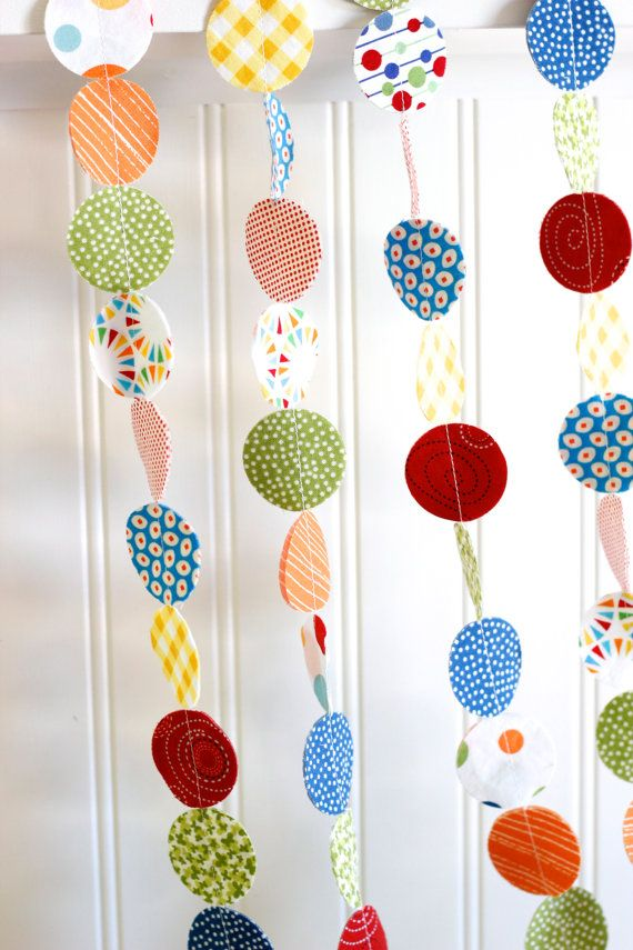 fabric garland primary colors red blue yellow green circle