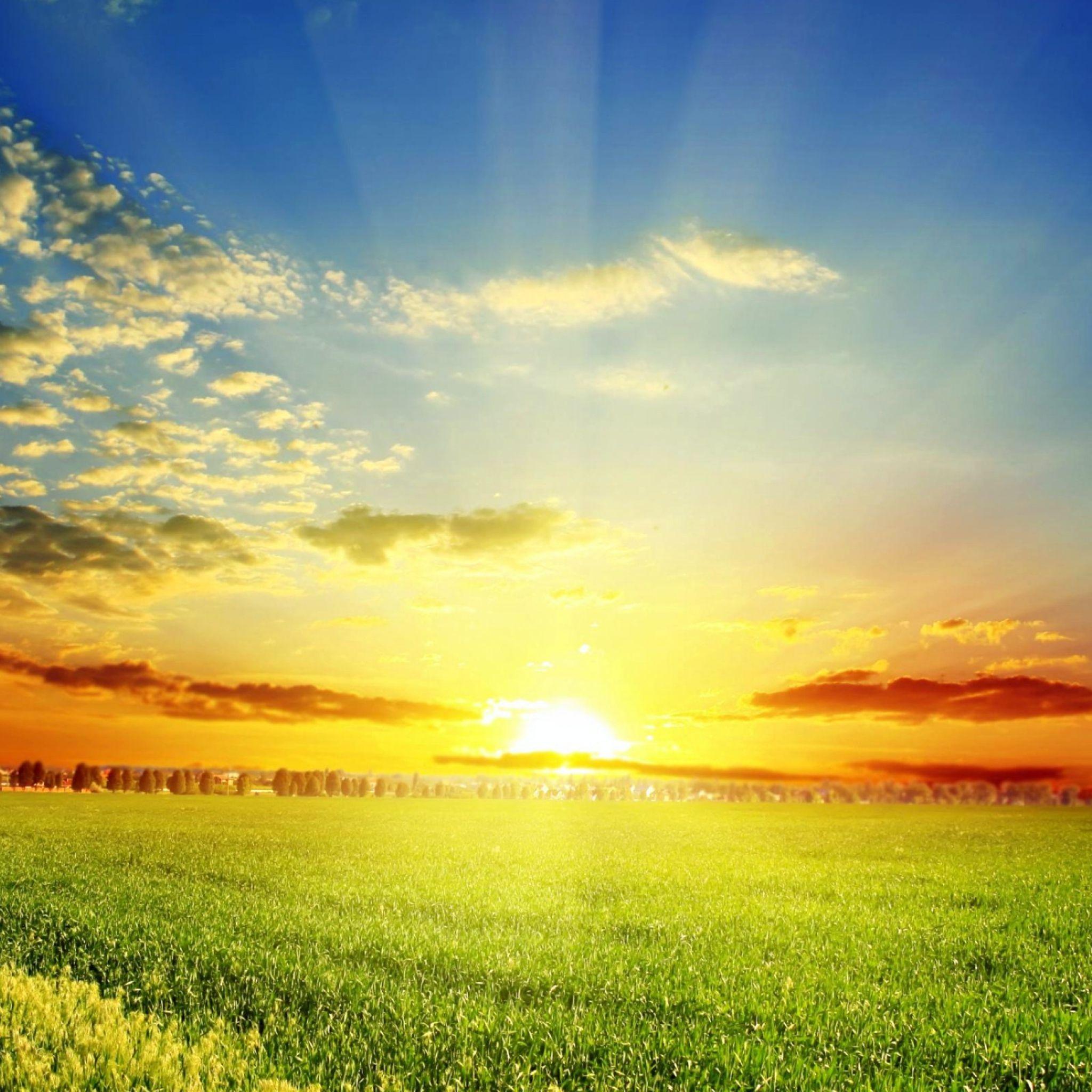 2048x2048 Papel De Parede De Campo Sol Nuvens Com Imagens