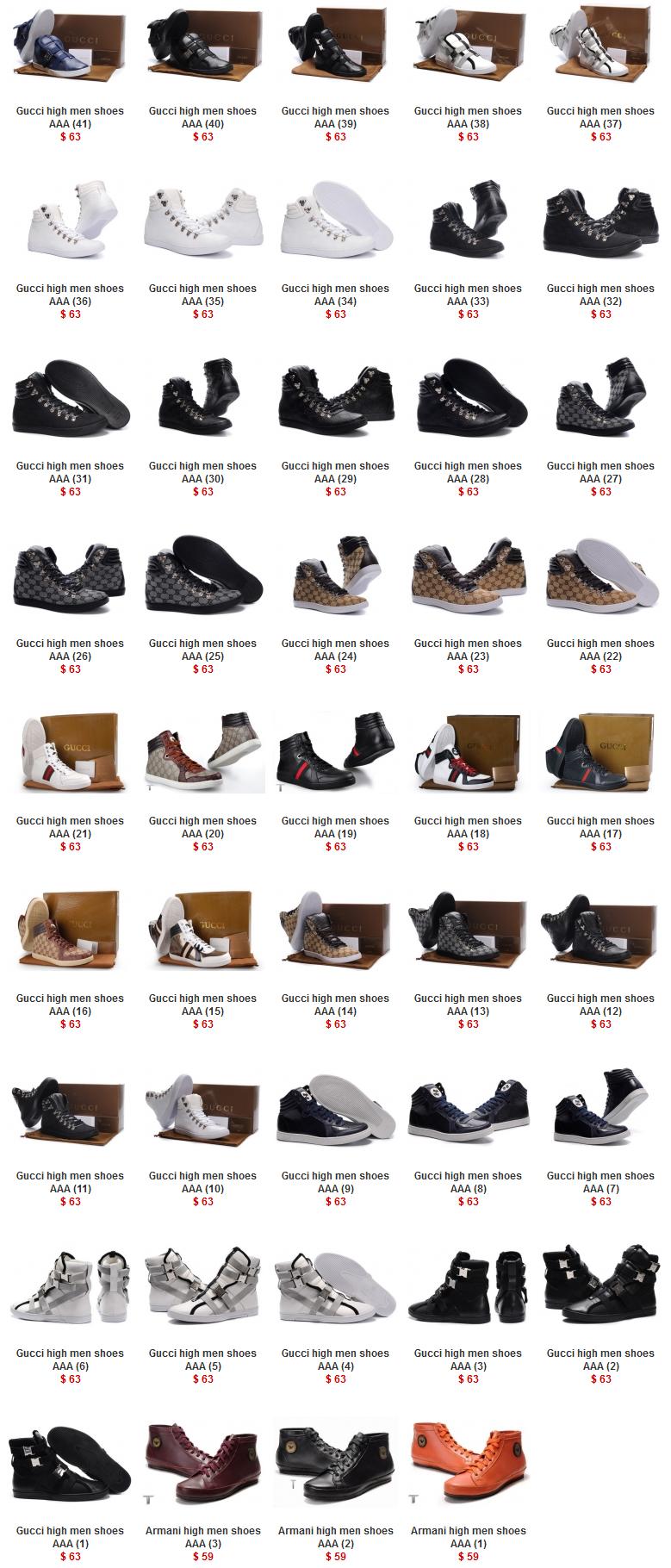Gucci & Armani high men shoes AAA