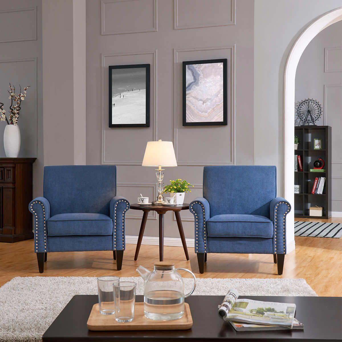 Monroe Fabric Club Chair 2 Pack Blue Living Room Decor Club Chairs Blue Sofa Living