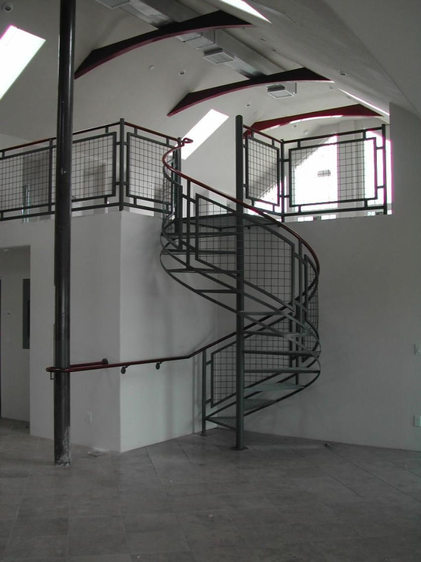 small resolution of woven wire metal railings exterior interior steel spiral stair and deck railing
