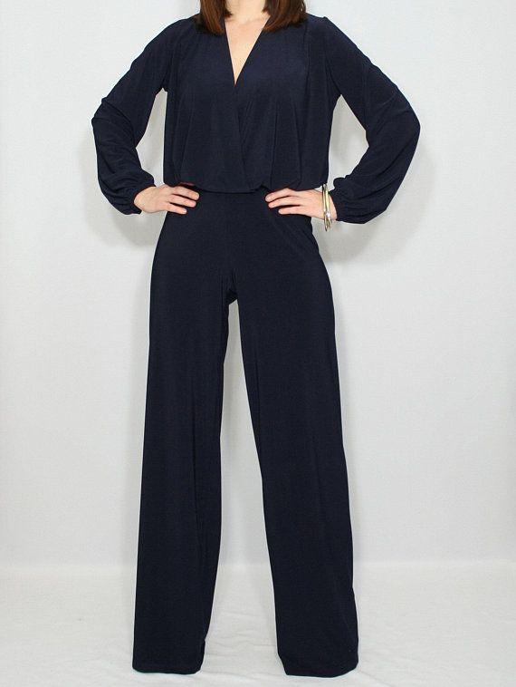 cae5d9dffe5 Navy blue wide leg jumpsuit for women   Blue long sleeve jumpsuit