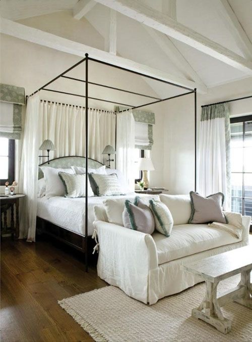 Iron Upholstered Canopy Bed With Curtains At Back And Sconces Sofa & Canopy Bed Studio Apartment ~ Nice Apartement
