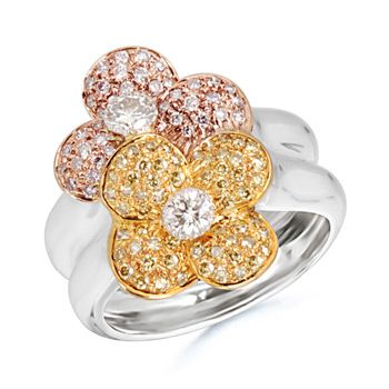 Round Diamond Twin Flower Designer Ring in 18k White Gold