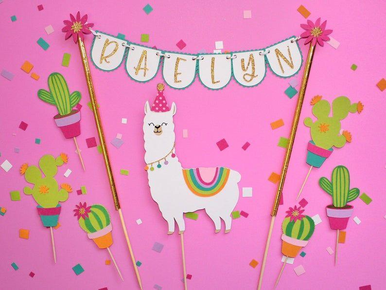 Llama cactus party cake topper set llama birthday party