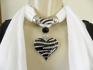 New Womens Pendant Scarf Necklace Jewelry Choker Bling Black Heart White Scarf