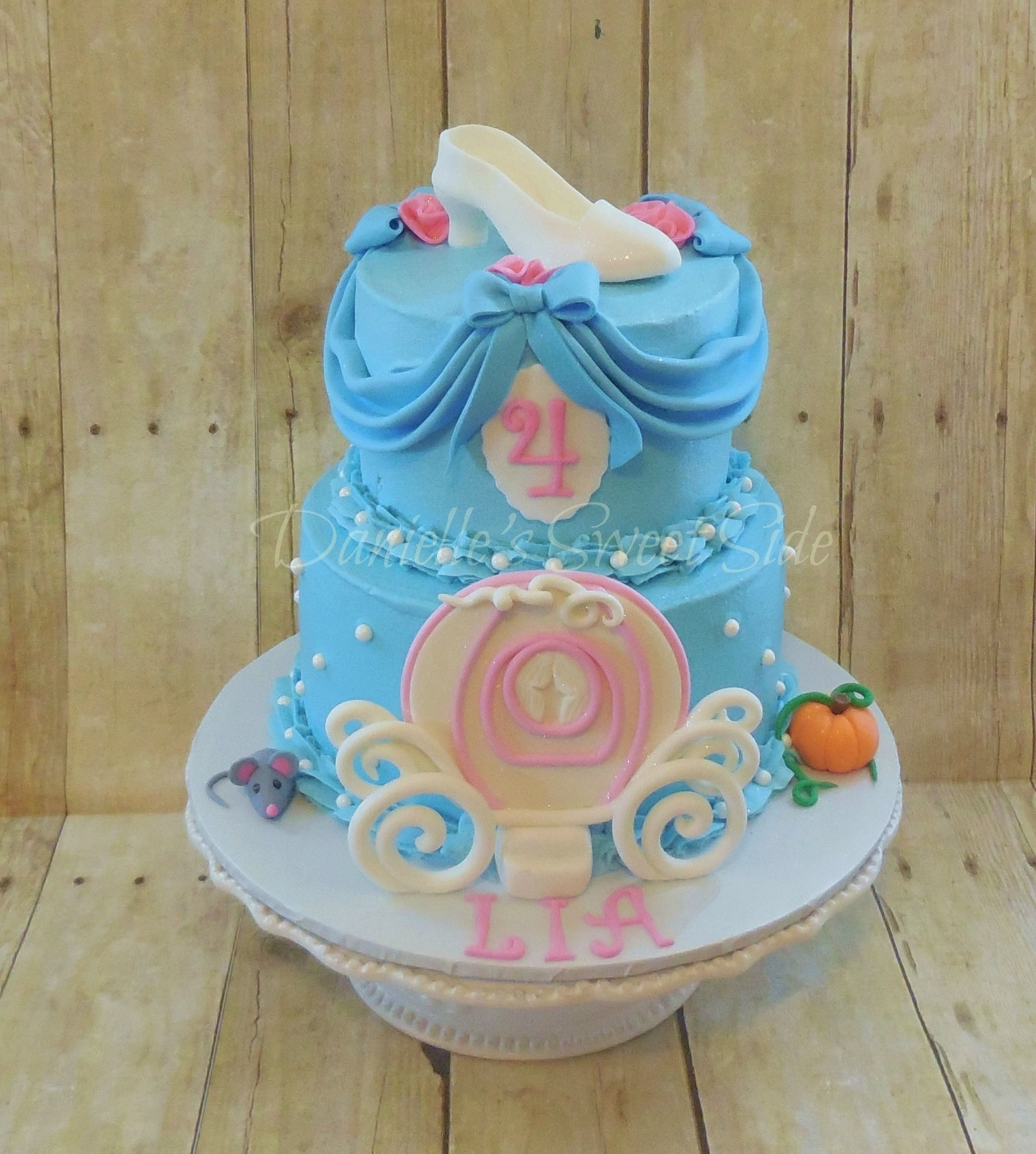 Cinderella inspired Birthday Cake Buttercream icing with Fondant