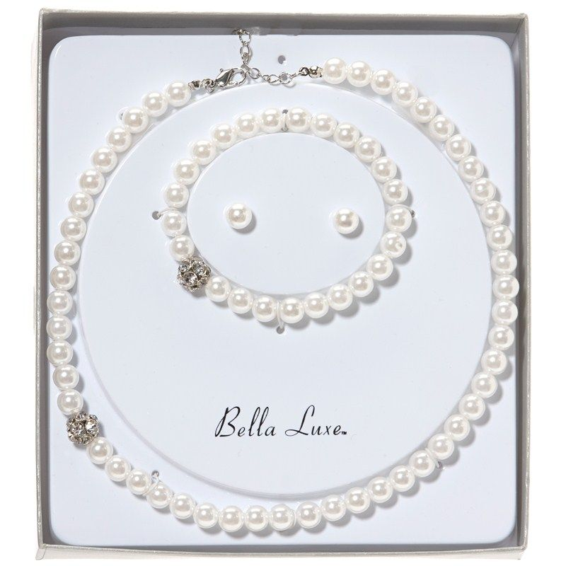 Look classy and feminine with this 3 piece pearl set. Both the necklace and bracelet have a single bead with rhinestones to make this chic set even more fun. Simple white pearl earrings tie the whole look together