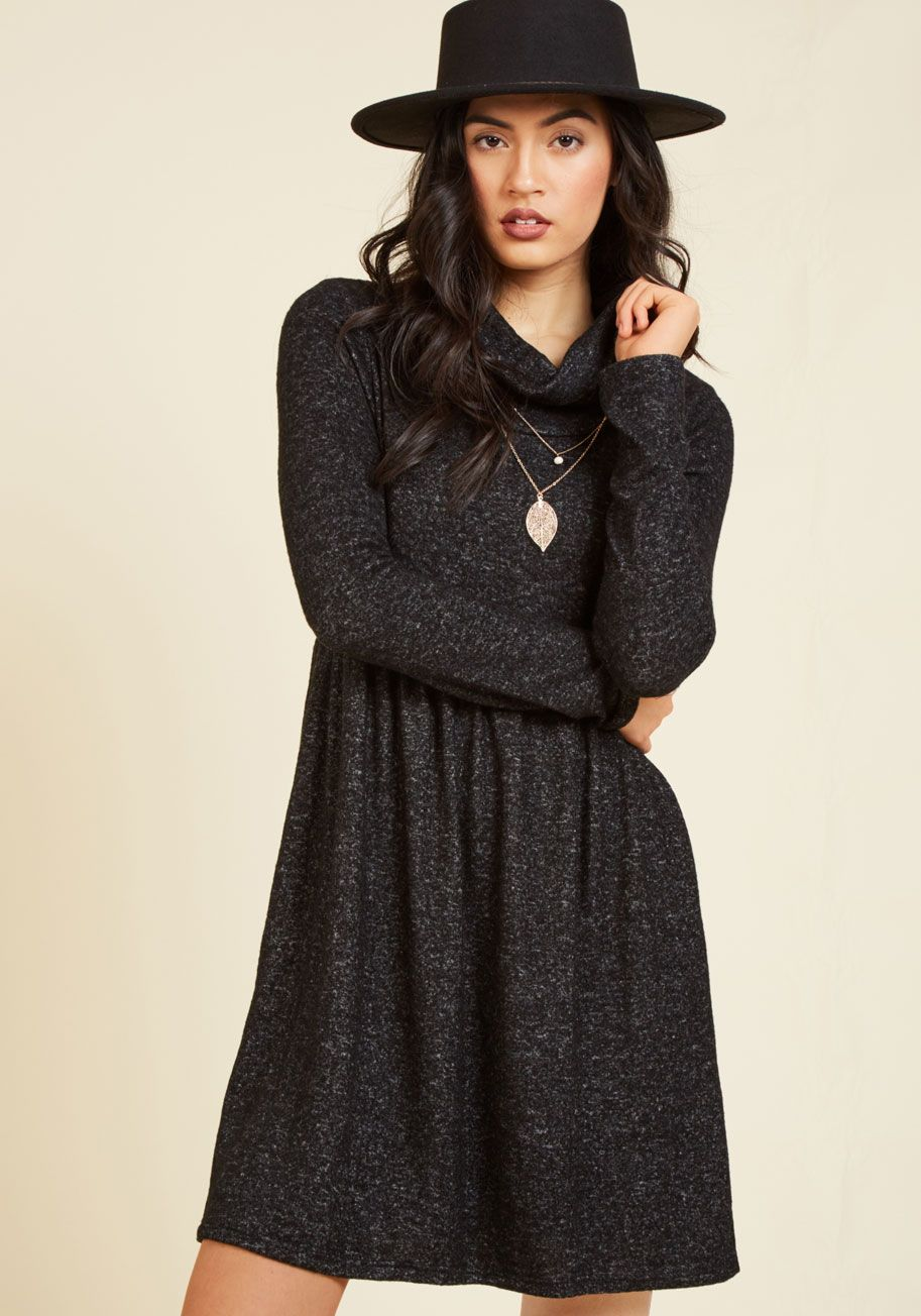 3e187666c1 Honoring Hygge Dress in Charcoal. Take a page from Danish culture and  embrace the weather s chill by snuggling into this dark grey dress!  black   modcloth