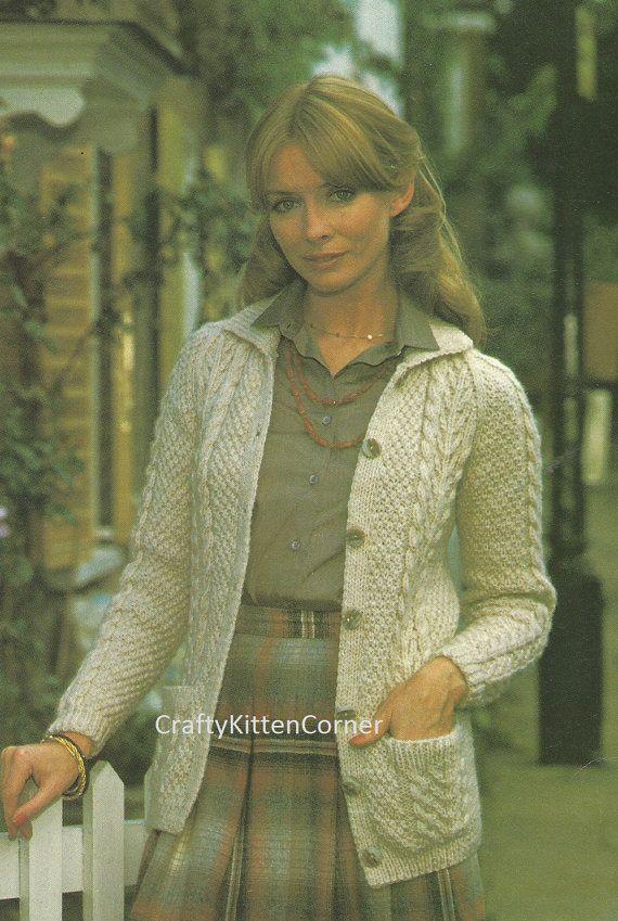 Vintage Ladies Aran Jacket/Cardigan With Collar Knitting PDF Pattern