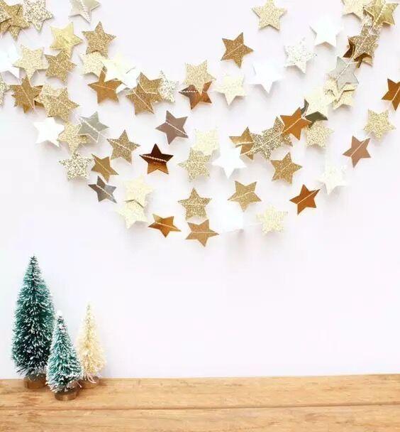 Gold Paper Star Flags Decoration Wedding Baby Boy Kids Room Long 4m Paper Garland E Diy Christmas Tree Garland Diy Christmas Tree Christmas Decorations Garland