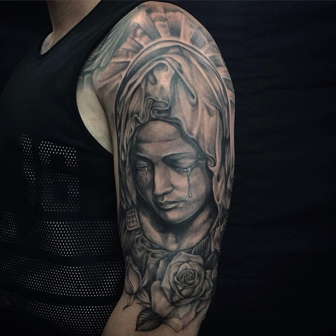 35 spiritual virgin mary tattoo designs meanings. Black Bedroom Furniture Sets. Home Design Ideas