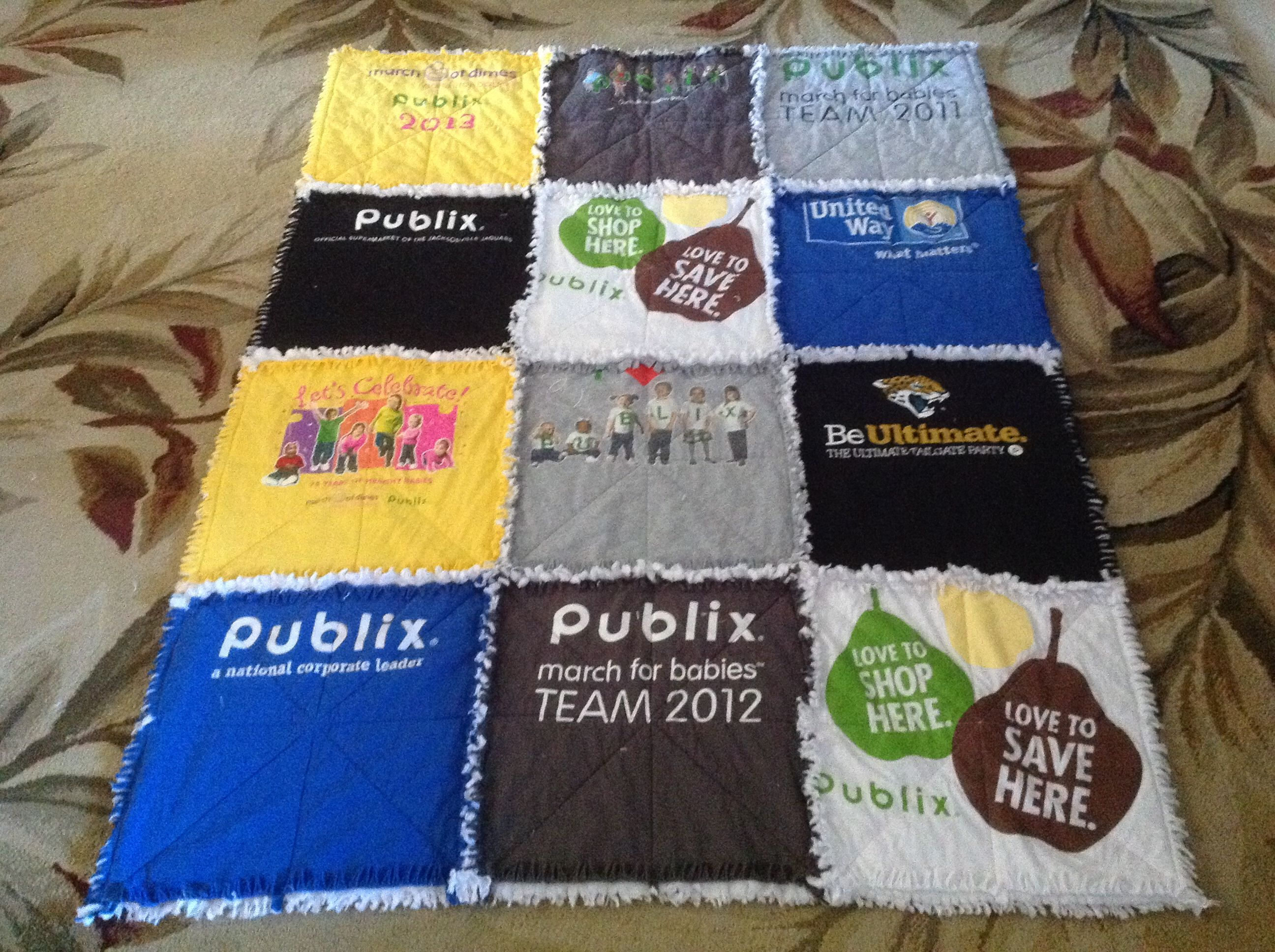 Publix Tshirt rag quilt. Made from event tshirts from