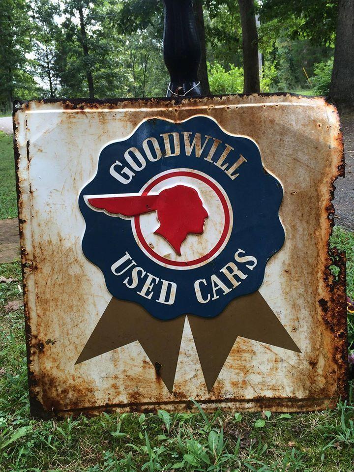 Original Pontiac Goodwill Cars Metal Dealer Sign Indian Head  For